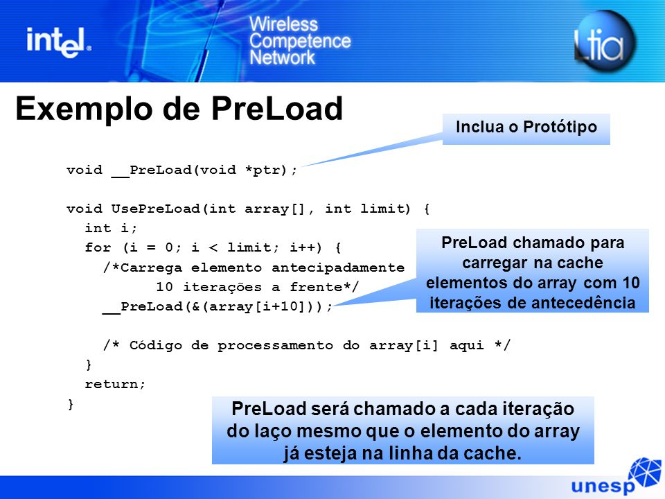 Exemplo de PreLoad Inclua o Protótipo. void __PreLoad(void *ptr); void UsePreLoad(int array[], int limit) {